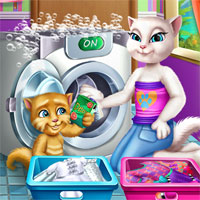 Free online flash games - Angela and Ginger Laundry Day SiSiGames game - chicksgames