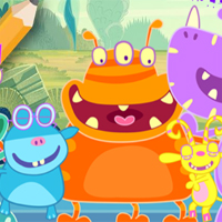Free online flash games - School Of Monsters Coloring Book game - chicksgames